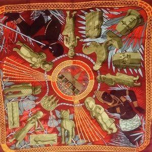 Hermès rare 1997 Tresor royal Du Benin silk scarf